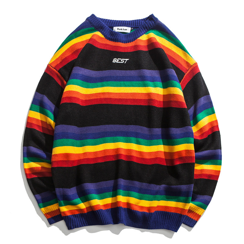 Zogaa 2019 Man Rainbow Striped O-neck Pullover Men Sweater Winter Letter Embroidery Sweater For Men Long Sleeve Shirt Pull Homme