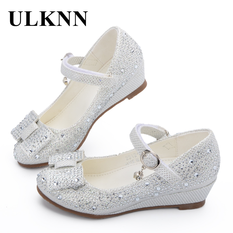 ULKNN Party Girls Shoes Children Sandals Wedge Princess Shoes Glitter Rhinestone Leather Butterfly Knot For Girls Baby Kids