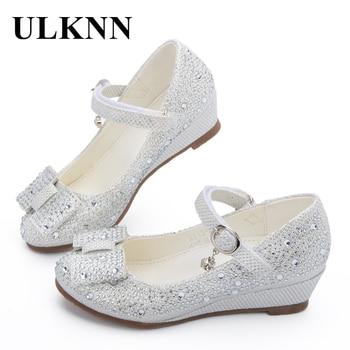 2e49a12531b ULKNN fiesta niñas Zapatos Niños sandalias cuña princesa zapatos brillo  diamantes de imitación cuero mariposa nudo para niñas bebés niños