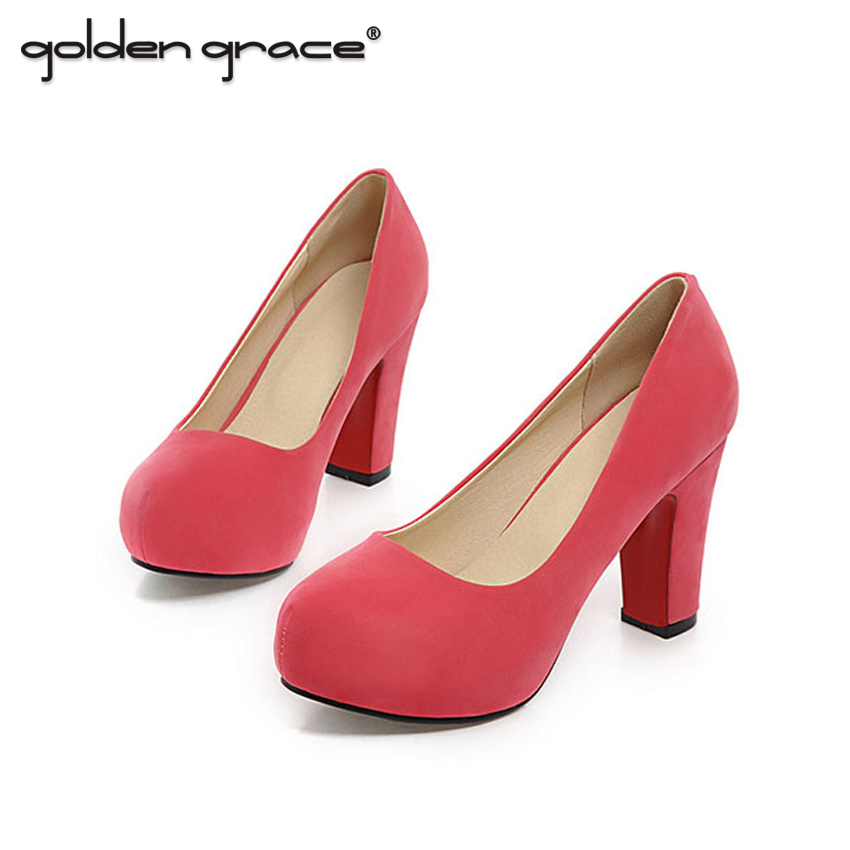 2017 Spring And Autumn Round Toe Shallow Mouth High-heeled Shoes Sweet Shoes Lazy Thick Heel Platform Women's Banquet Shoes