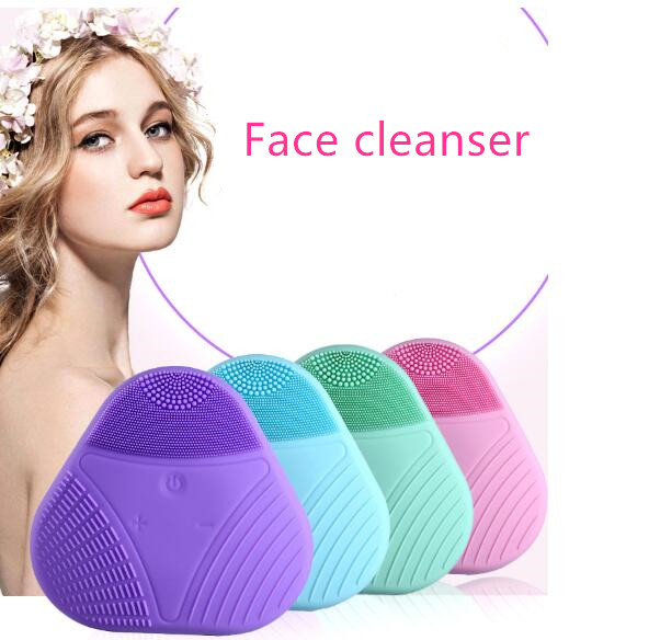 Silicone wash cleansing instrument facial cleanser ultrasonic beauty instrument cleansing brush Mini charging electric 3d silicone massage ultrasonic facial cleansing brush beauty instrument pores cleaner face vibration spa usb recharge