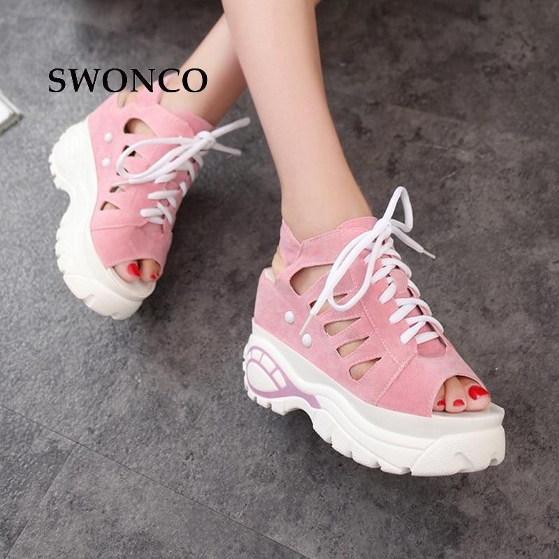الصنادل SWONCO المرأة 2018 الصيف سميكة - أحذية المرأة