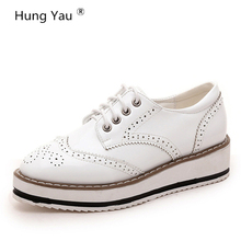 Hung Yua Flats Shoes For Women Lace-Up Casual Brogue Shoes Creepers Platform Female Leather Oxford Shoes Black White Size US 8