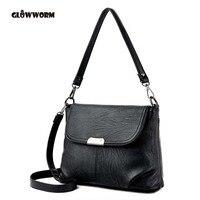 GLOWWORM Brand Genuine Leather Hread Crossbody Bags Plaid Sheepskin Bags Women Handbags Designer Shoulder Bags Ladies