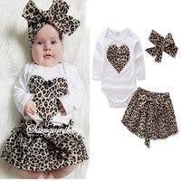 Little Girls Clothing Sets Leopard Romper Skirt Headband Newborn Infant Outfits 3pcs Spring Autumn Outerwear Toddler