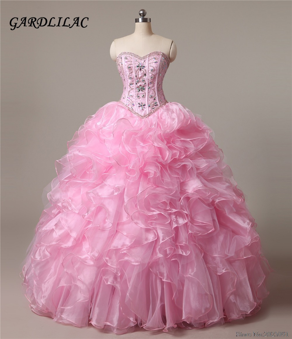 New Sweetheart Pink Quinceanera Abiti 2019 Ball Gown con perline Crystal economici Quinceanera Abiti lunghi Prom dress