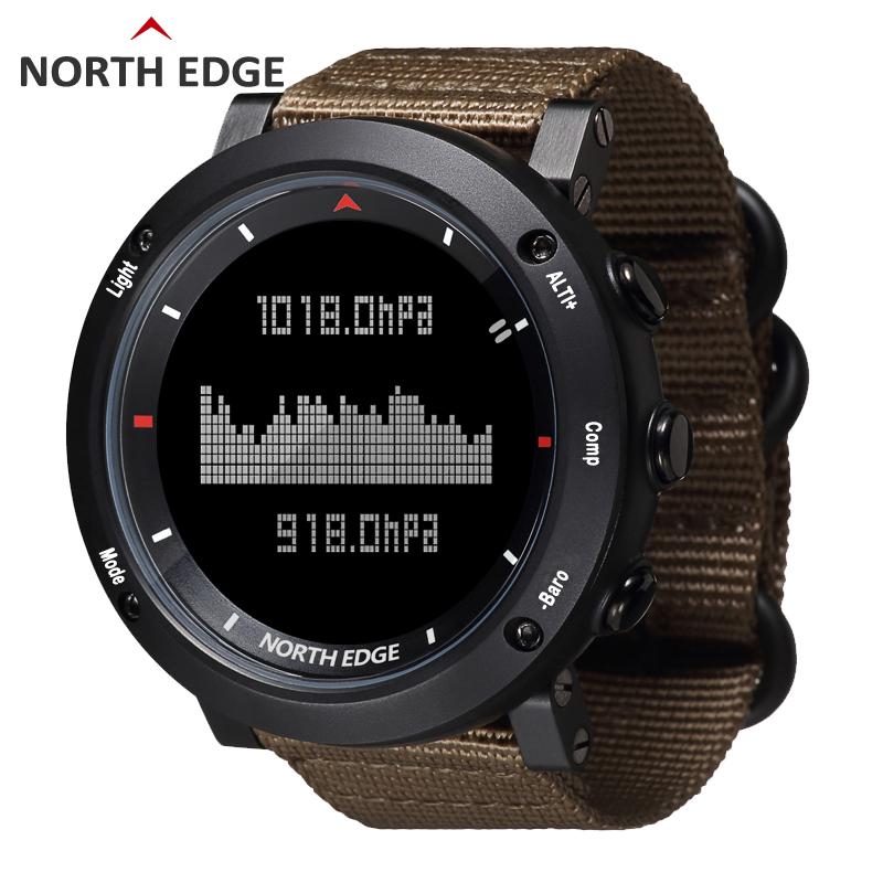 NORTH EDGE Men Sports Watch Barometer Altimeter Compass Thermometer Step Pedometer Nylon Strap Watches Digital Running Climbing