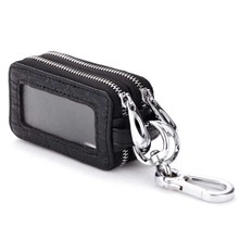 Genuine Leather Car Key Wallets Men Key Holder Housekeeper Keys Organizer Women Keychain Double Zipper Key Case Bag B0187