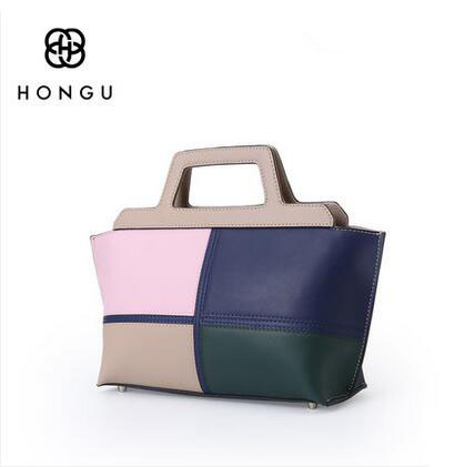цены HONGU 2018 new handbags stitching fashion leather handbags women's Messenger shoulder bag wild temperament hand bag !