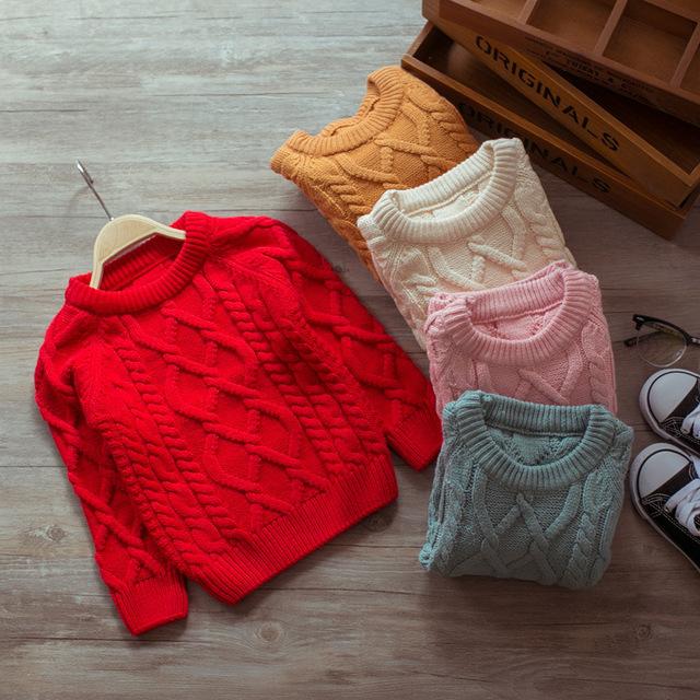 2017 niños del resorte sólido trenzado de punto de lana suéter babys pura beige rosa rojo pullover 1-4y