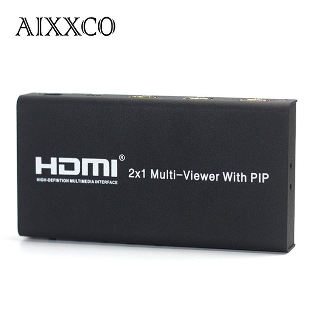 AIXXCO HDMI 2X1 Multi Viewer Splitter Switcher With PIP with IR 1080P Picture A/V Division HDTV PC For ps3 TV