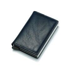 BISI GORO Antitheft Men Vintage Credit Card Holder Blocking Rfid Wallet Leather Unisex Security Information Aluminum Metal Purse(China)