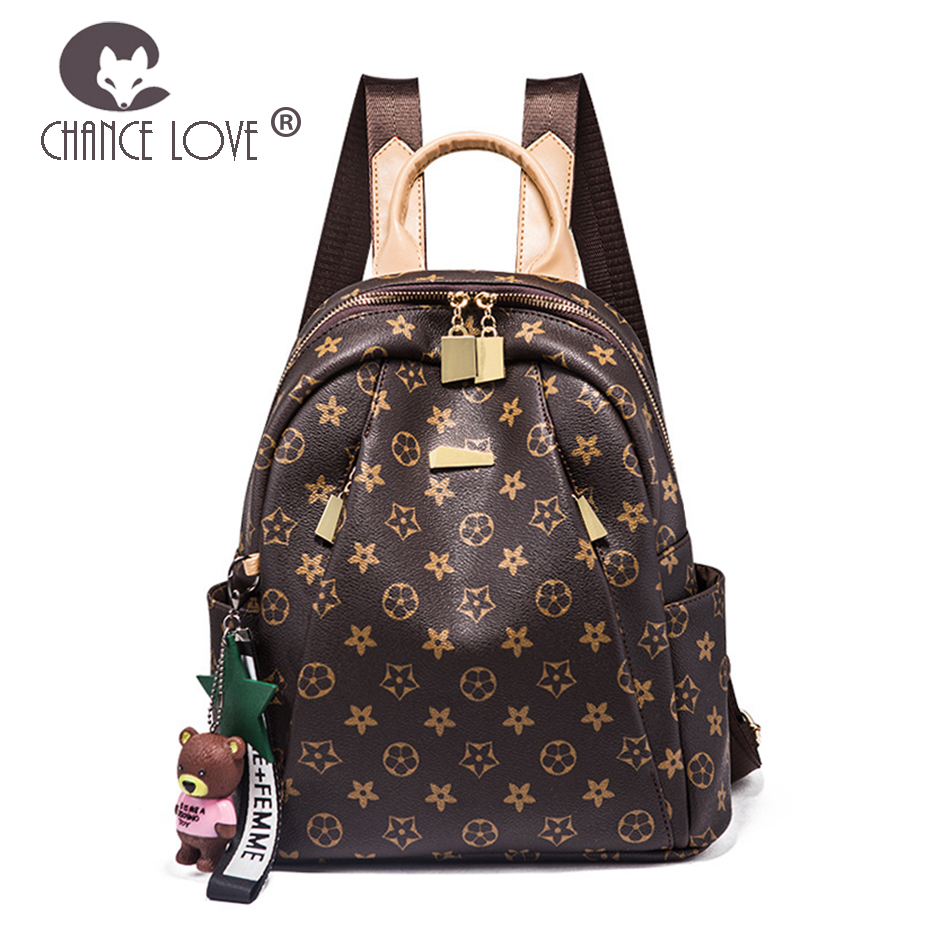 Chance Love Fashion women tide brand backpack female flower pattern wild 2018 new fashion casual soft leather travel bag