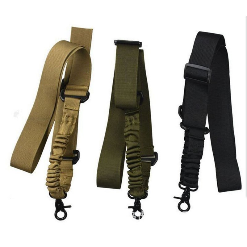 Multi-function Nylon Adjustable Tactical Single Point Bungee Rifle Gun Airsoft Sling Hunting Gun Strap Army Green Black Outdoor