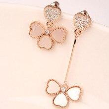 Heart Earring- Hot Sale New Fashion Elegant Woman Clover Short Long Crystal Heart Leaf Earring