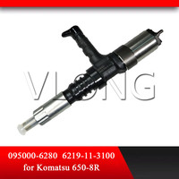 Engine SAA12V140E Fuel Injector 6219-11-3100 095000-6280 For Komatsu PC650-8R PC400-8