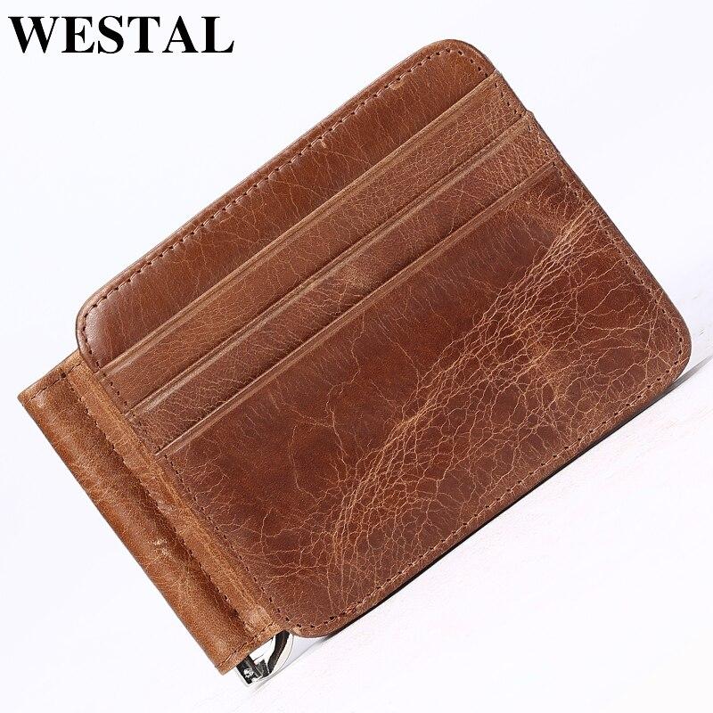 WESTAL para klipleri erkekler hakiki deri para klipleri erkek cüzdanlar vintage erkek cüzdan kredi kartı erkek cüzdan klip 7607