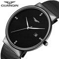 GUANQIN Luxury Brand Бизнес Случайный Черный Нержавеющей Стали Кварцевые Часы Моды для Мужчин Календарь Водонепроницаемые Наручные Часы Montre Homme