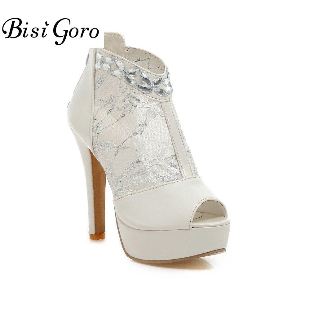 BISI GORO 2017 Sexy High Heels Stiletto Shoes Women Pumps Summer Platform Shoes White Heels Women Peep Toe Wedding Shoes Bride ноутбук dell vostro 5468 5468 1090 5468 1090