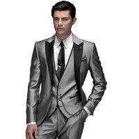 Abiti da Uomo su misura Fatto Moda Shiny Silver 3 Pezzo uomo Slim Si Adatta Abiti Sposo Abiti Da Sposa Smoking Formale abiti