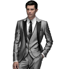 Custom Made Fashion Shiny Silver 3 Piece Men's Slim Fits Suits Wedding Suits Groom Suits Bridal Tuxedos Formal Suits