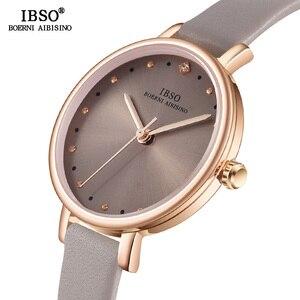 Image 2 - IBSO Brand Luxury Ladies Quartz Watch Leather Strap Montre Femme Fashion Women Wrist Watches Relogio Feminino Female Clock