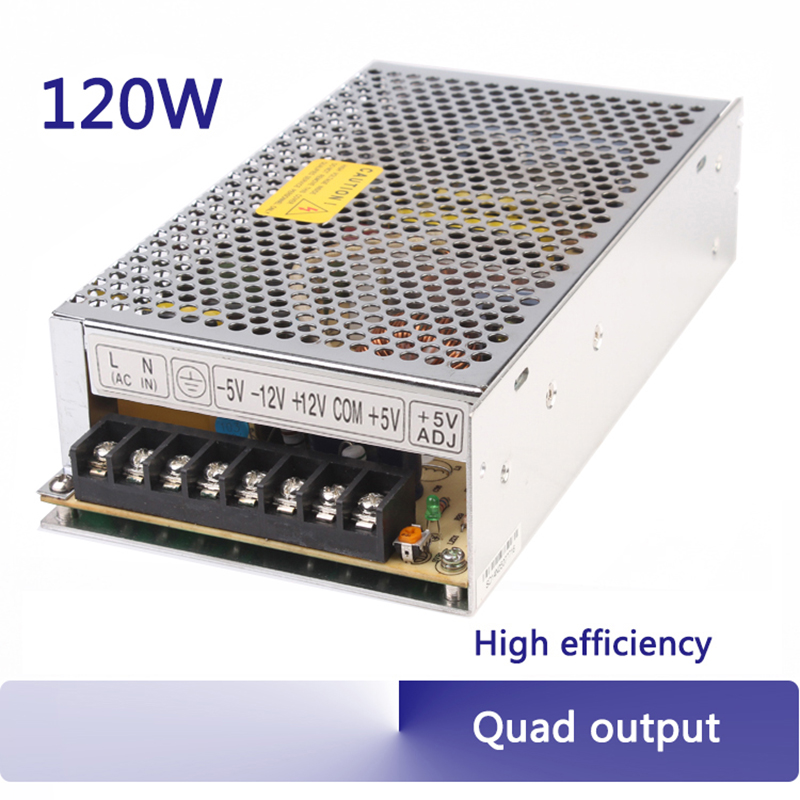quad output 5V 12V -5V -12V; 5V 15V -5V -15V; 5V 12V 24 120W switching power supply used in industry LED lighting AC to DC Q-120 q 120d ce power supply 5v 12v 24v 12v quad output 120w switching power supply