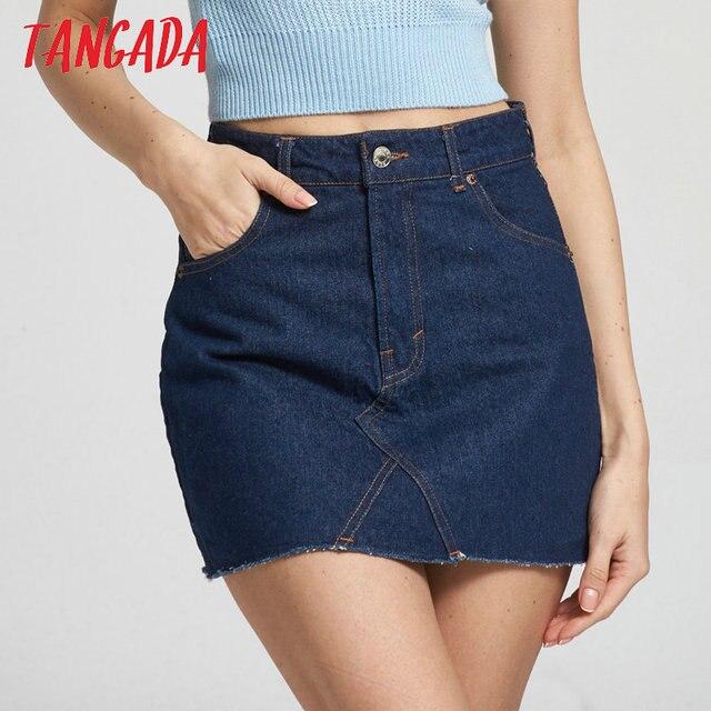 Tangada Women 2017 Summer High Waist Short Jeans Skirt ...