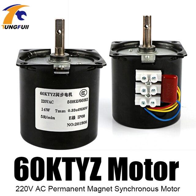 60Ktyz Ac Permanente Magneet Synchrone Motor 220V Gear Motor Miniatuur Lage Snelheid Grote Koppel Kleine Motor