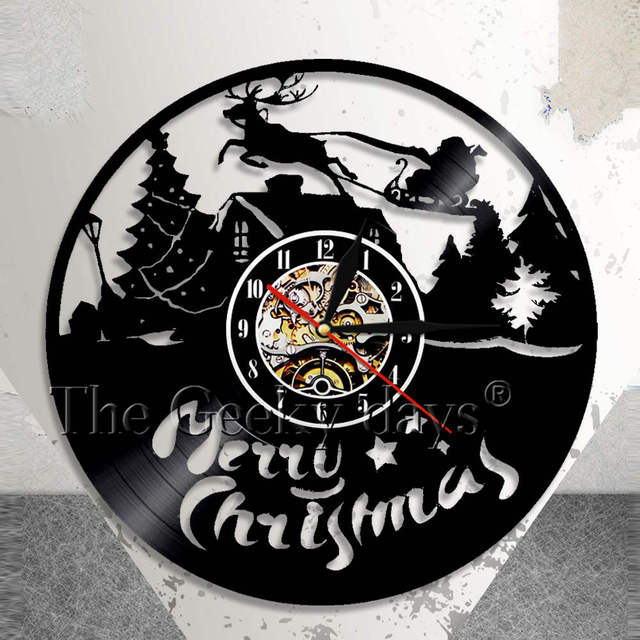 Christmas Characters Wall Clock Reindeer Santa Clause On Sleigh