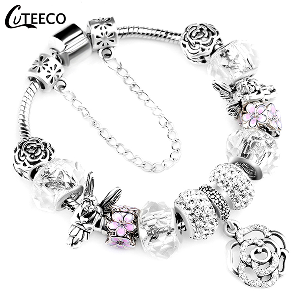 CUTEECO 925 Fashion Silver Charms Bracelet Bangle For Women Crystal Flower Beads Fit Pandora Bracelets Jewelry(China)