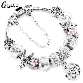 CUTEECO 925 Fashion Silver Charms Bracelet Bangle For Women Crystal Flower Beads Fit Pandora Bracelets Jewelry buddhist rope bracelet