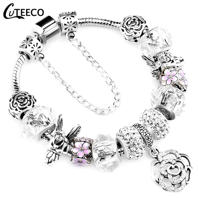 CUTEECO Charms Bracelet Bangle For Women Crystal Flower Fairy Bead Jewelry