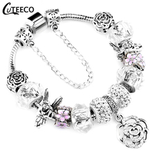 CUTEECO 925 Fashion Silver Charms Bracelet Bangle For Women Crystal Flower Beads Fit Pandora Bracelets Jewelry cheap Trendy Plant Hidden-safety-clasp AA0105 Copper Zinc Alloy Pave Setting Metal Snake Chain Charm Bracelets All Compatible