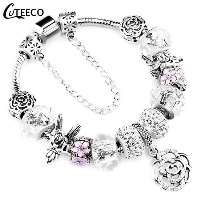 CUTEECO 925 אופנה כסף קסמי צמיד צמיד לנשים קריסטל פרח חרוזים Fit פנדורה צמידי תכשיטים