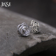 JINSE S925 Pure Silver Fully-Jewelled Earrings Rose Flower Shaped Earring Hollow Out Design Elegant Stud Earring 11mm