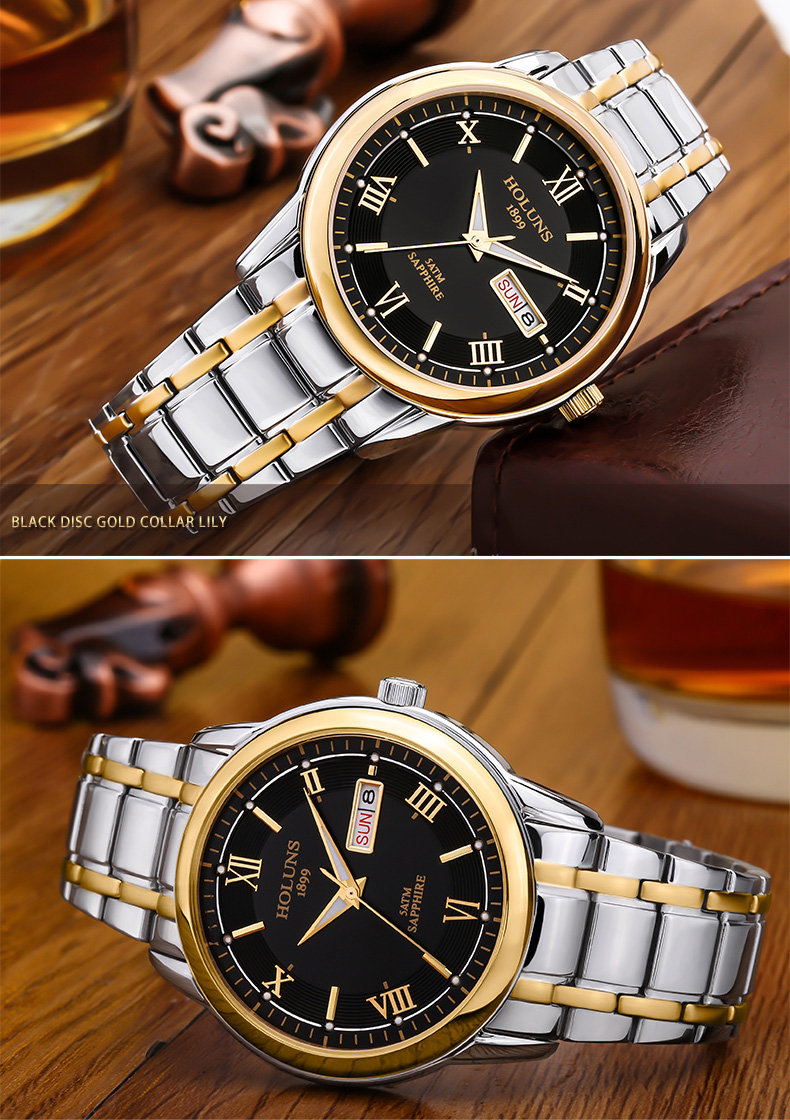 HOLUNS relogio masculino full stainless steel men automatic watch top brand luxury 5ATM waterproof Super luminous dropshipping