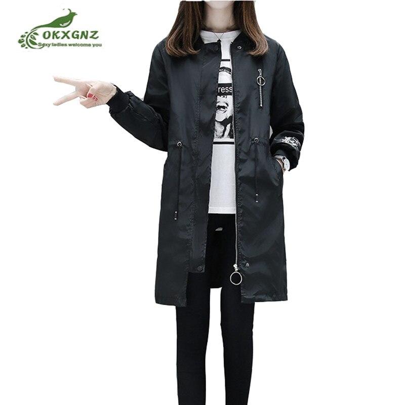 2018 Spring Autumn New Female Jackets Fashion Wild Embroidery Large yard Medium Long Casual jacket Windbreaker Women OKXGNZ
