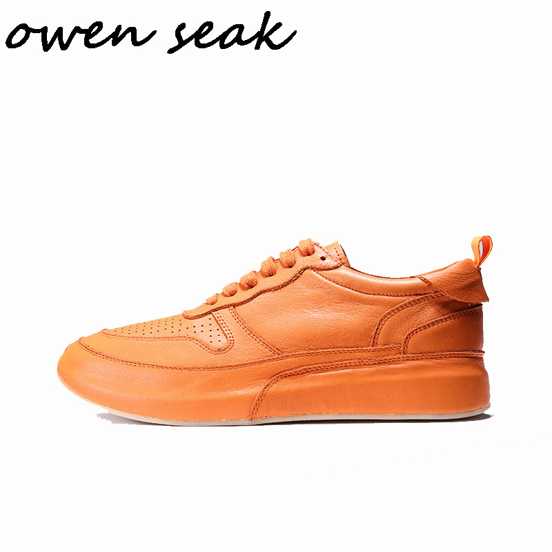 2019 Owen Seak Men Casual Shoes Luxury Men Sneakers Trainers Genuine Leather Adult Spring Lace Up