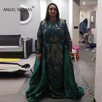 Плюс Размеры с длинным рукавом зеленое вечернее платье 2019 длинные Abendkleider 2018 выпускного вечера вечерние платье Саудовская Арабский вечерне