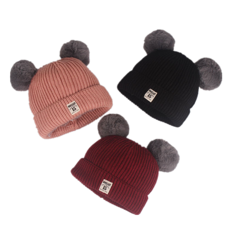 New Autumn Winter Baby Beanie Real Rabbit Fur Pompoms Warm Cap Kids Clothing Accessories Hat for 3-18Months rabbit hair lady autumn winter new weaving small pineapple fur hat in winter to keep warm very nice and warm comfortable