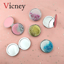 Vicney New Mini Makeup Mirror Compact Pocket Portable Double Sided Folding Female Gift Flowing Shiny Sand