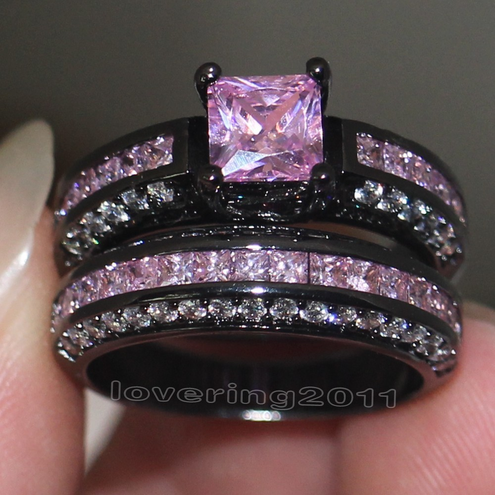 choucong jewelry brand design pink aaa cz simulated stones 10kt black gold filled engagement wedding band