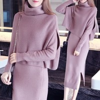2018 New Autumn Winter Fashion Women TURTLENECK Bottoming sweater Tops A Line dress Knit 2 Piece Set Ladies Casual Knitted Suit