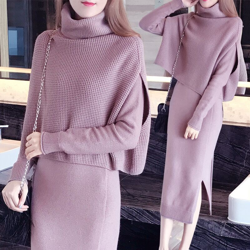 2019 New Autumn Winter Fashion Women TURTLENECK Bottoming sweater Tops A-Line dress Knit 2 Piece Set Ladies Casual Knitted Suit