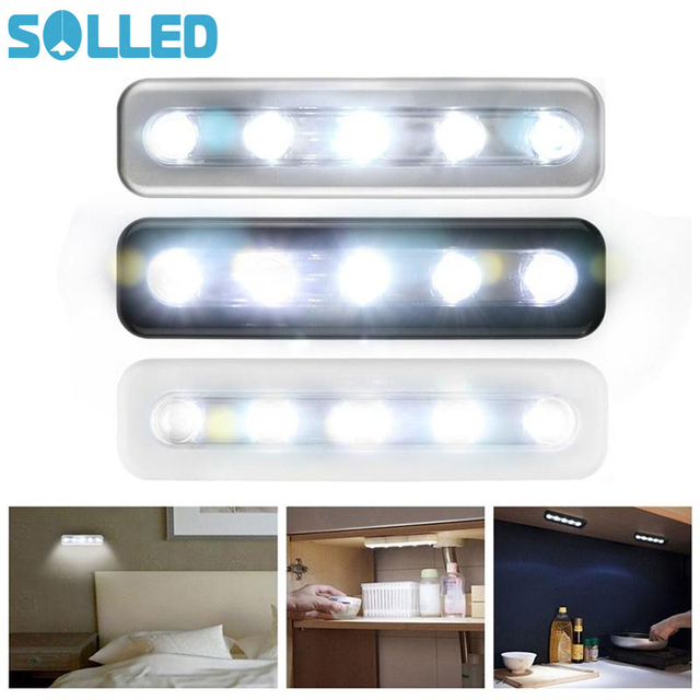 Solled 5 Led Light Bar Battery Operated Cabinet Closet Kitchen Corridor Strip Wall Touch Lamp
