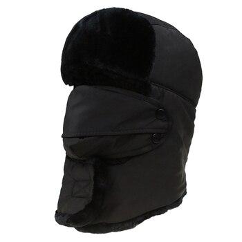 Invierno cálido Earflap bombardero sombreros gorras bufanda hombres mujeres  ruso Trapper sombrero aviador Trooper orejeras esquí gorra con máscara Fack fc64f1656ecb