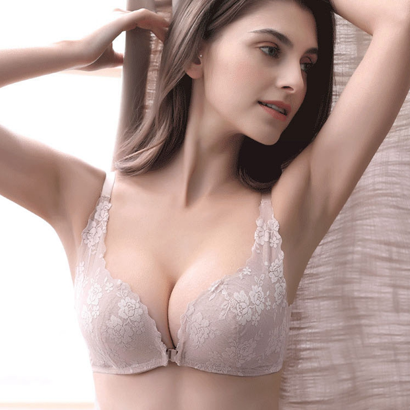 eb7425c250b8d Front buckle without rim bra new product lace gathered small chest beauty  back sexy underwear female bra