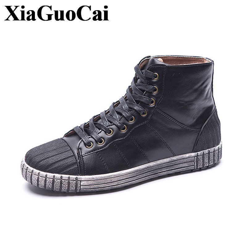 Autumn New Fashion High Top Shoes Men Lace-up Flat Casual Shoes Retro England Style Classics Round Shell Toe Skate Shoes H417 35 men shoes new autumn fashion men casual shoes lace up warm brand winter shoes mixed color high top flat with mens shoes