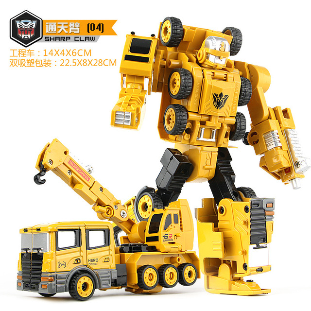 13cm ABS Alloy Engineering Vehicles Deformation Car Robot Transformation Toys Robot Action Figure Model For Children Kids Gifts